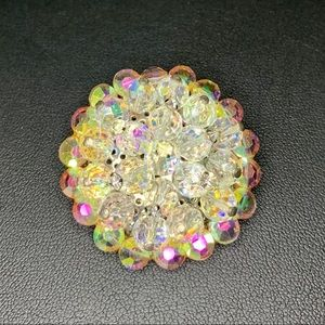 Vtg Dazzling Faceted Crystal Brooch w/ AB RS